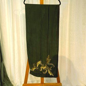Vintage Green Silk Scarf with Gold Details